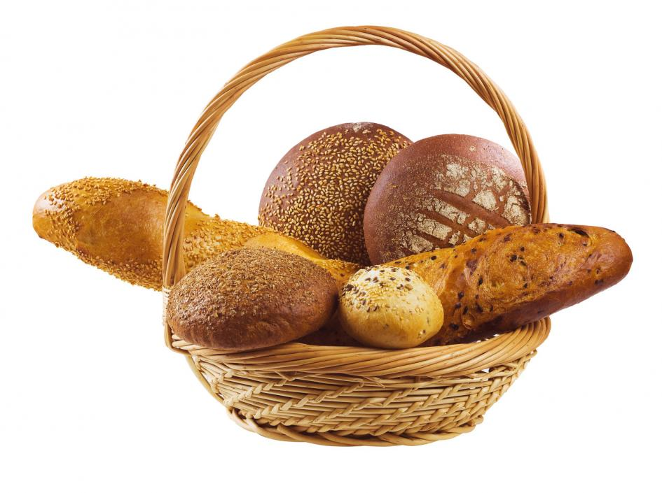 A basket containing several kinds of breads and buns
