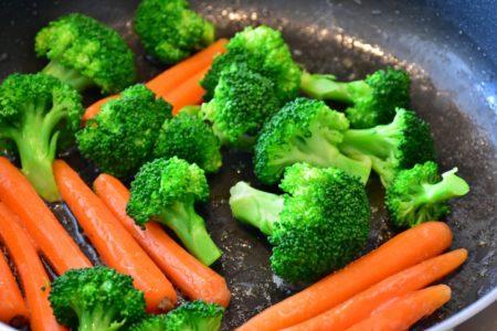 Sautéing Broccoli and Carrots