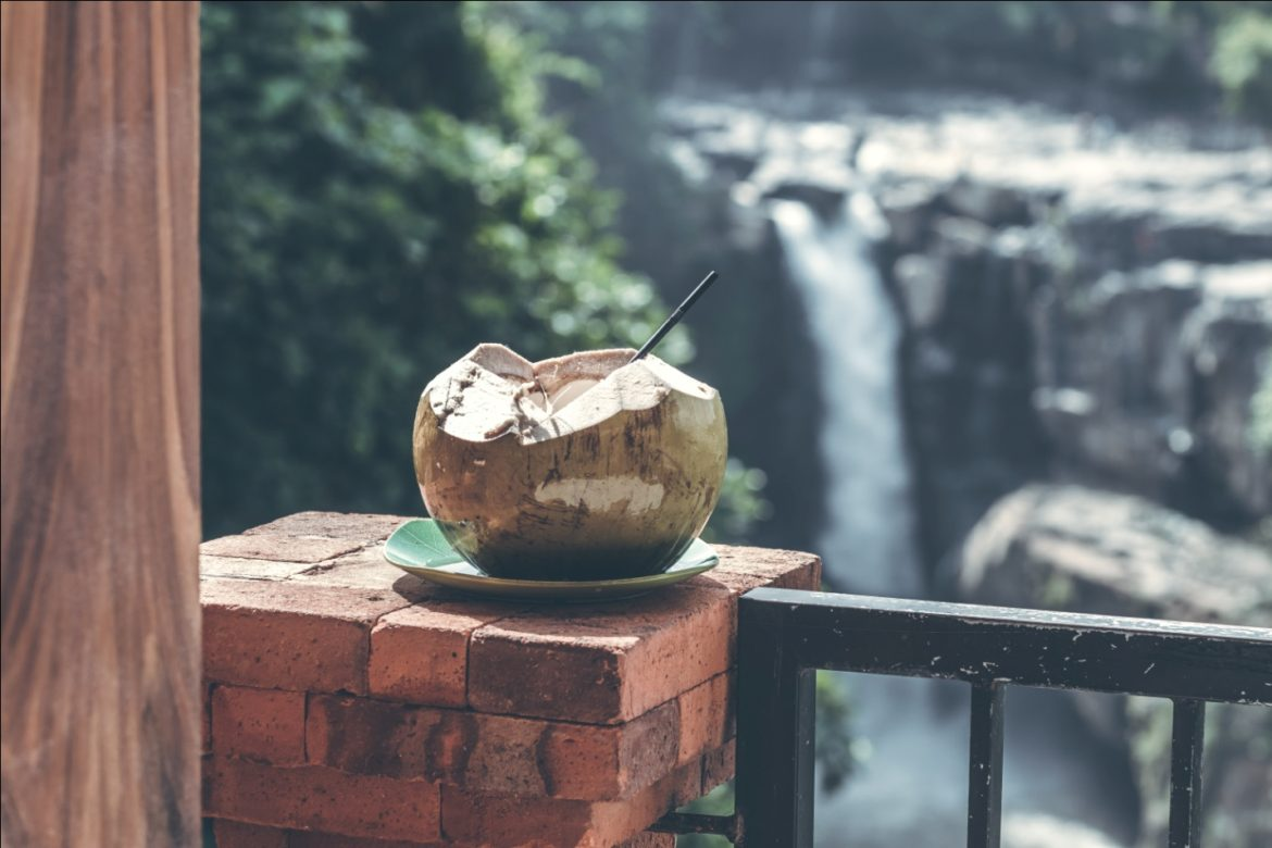 Coconut with a Straw in It