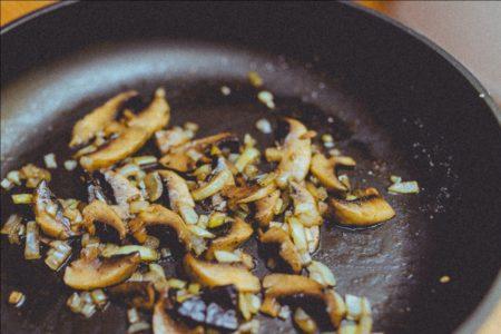 Mushroom and Garlic Being Sautéed