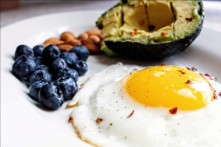 Sunny Side Up Egg with Blueberries and Avocado
