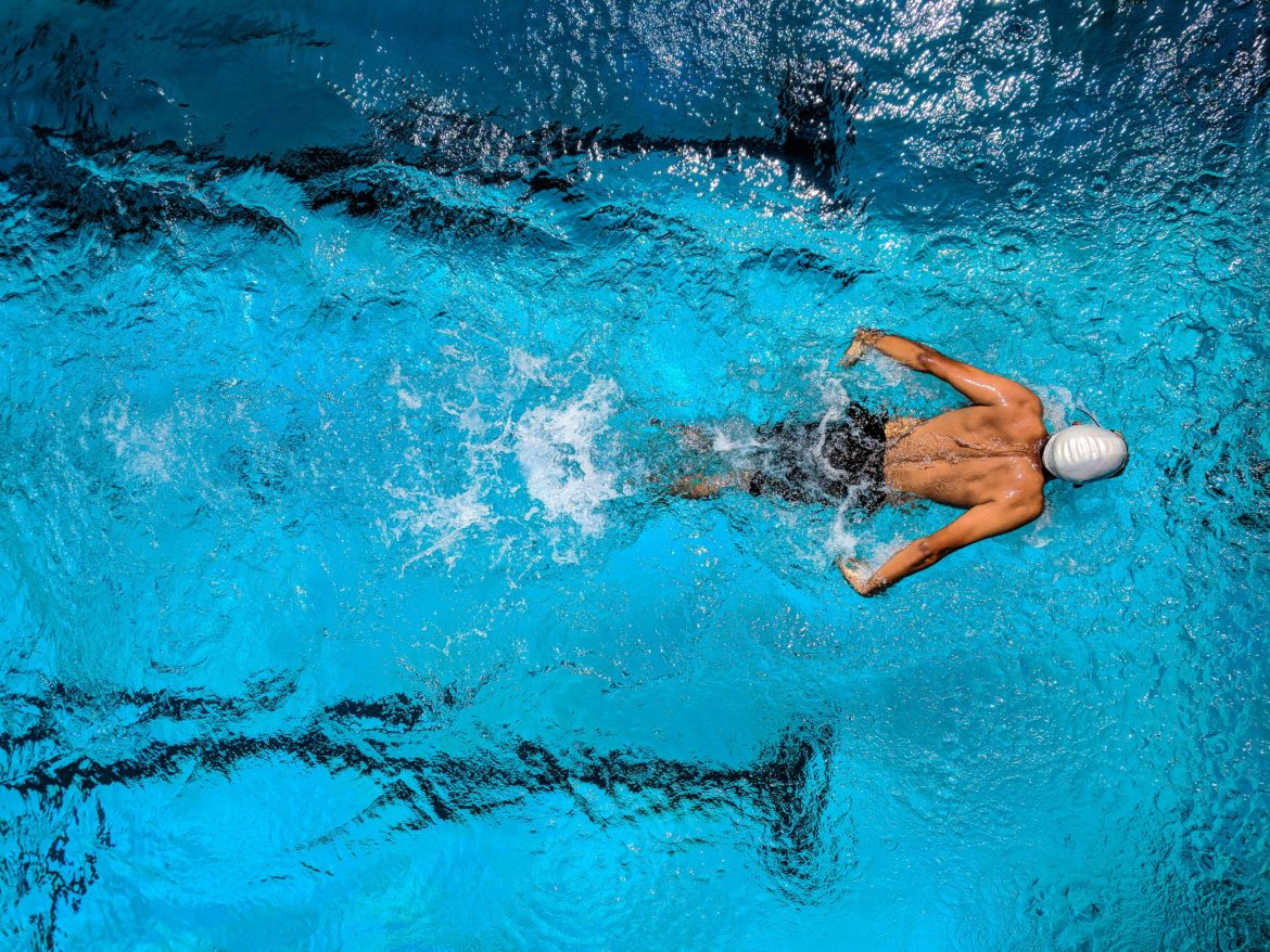 Top View of a Person Swimming