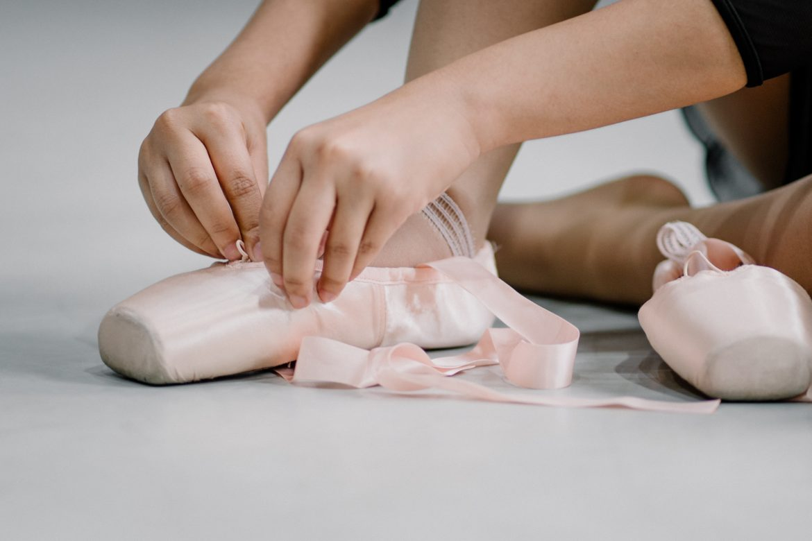 Ballet Shoes Being Worn by A Person